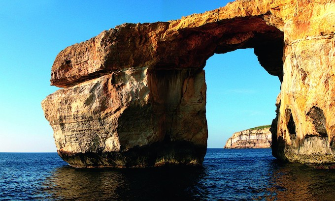 The Azure Window in Dwerja Bay in Malta