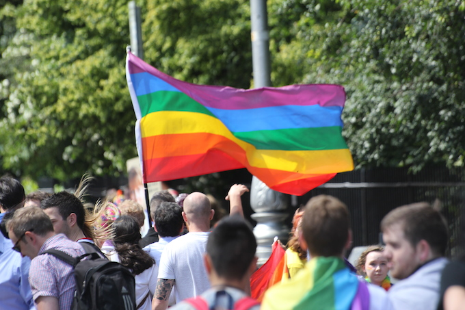 Pride flag at Dublin Pride Parade 2014
