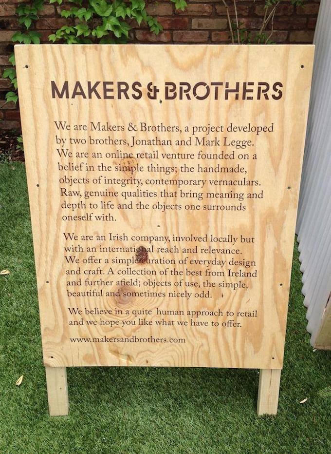 Makers & Brothers' handmade sign