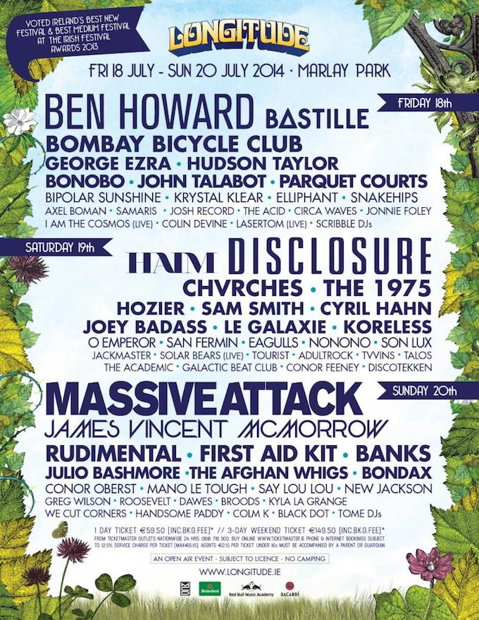 Lineup for Longitude 2014 in Dublin