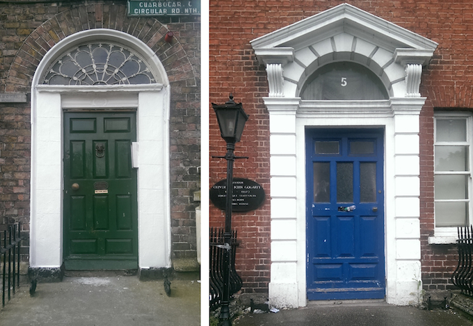 Georgian doors in Dublin -- Sean O'Casey and Oliver St. John Gogarty