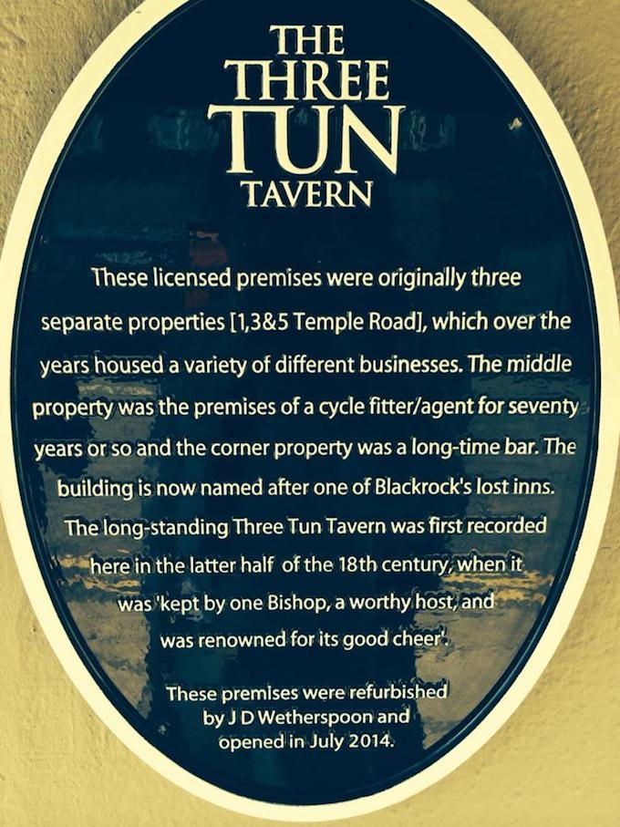 Three Tun Tavern sign in Blackrock