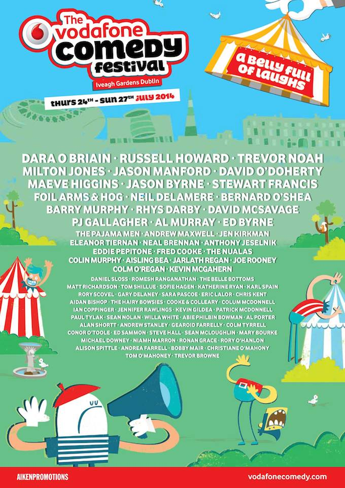 Line-up for Vodafone Comedy Festival 2014 in Dublin